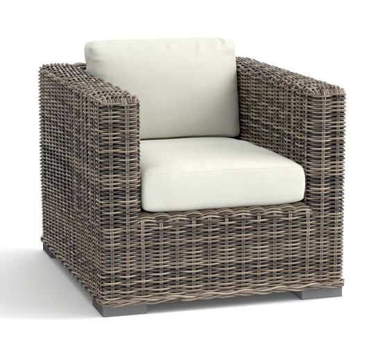 Huntington All-Weather Wicker Square-Arm Occasional Chair  Pottery ...