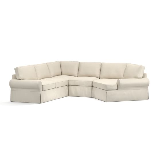 Pb basic slipcovered small 4 piece angled chaise sectional for Angled chaise sofa