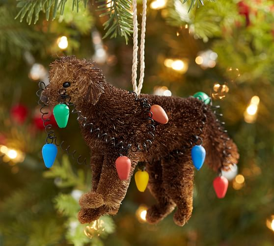 Bottle Brush Chocolate Lab With Lights Ornament