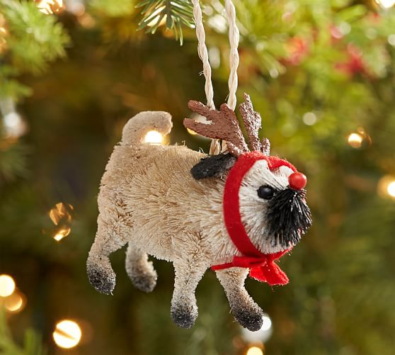 Bottle Brush Pug Ornament