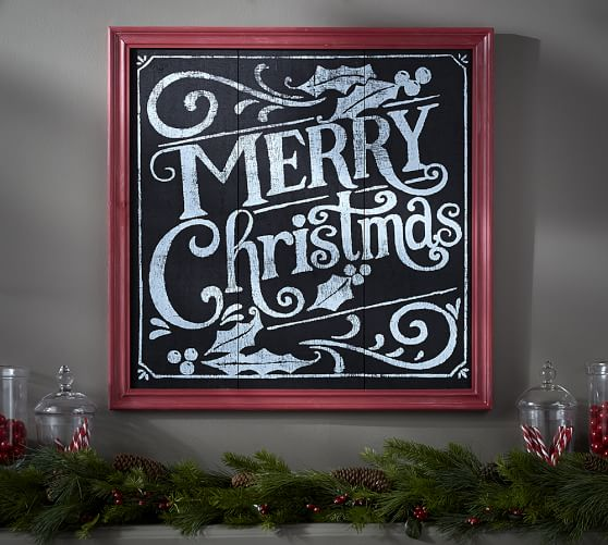 Merry Christmas Chalkboard Sign Wall Art Pottery Barn
