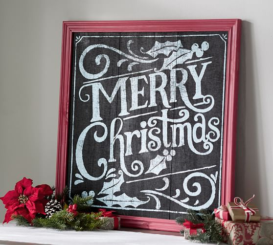 Christmas Sign Decorations: Merry Christmas Chalkboard Sign Wall Art