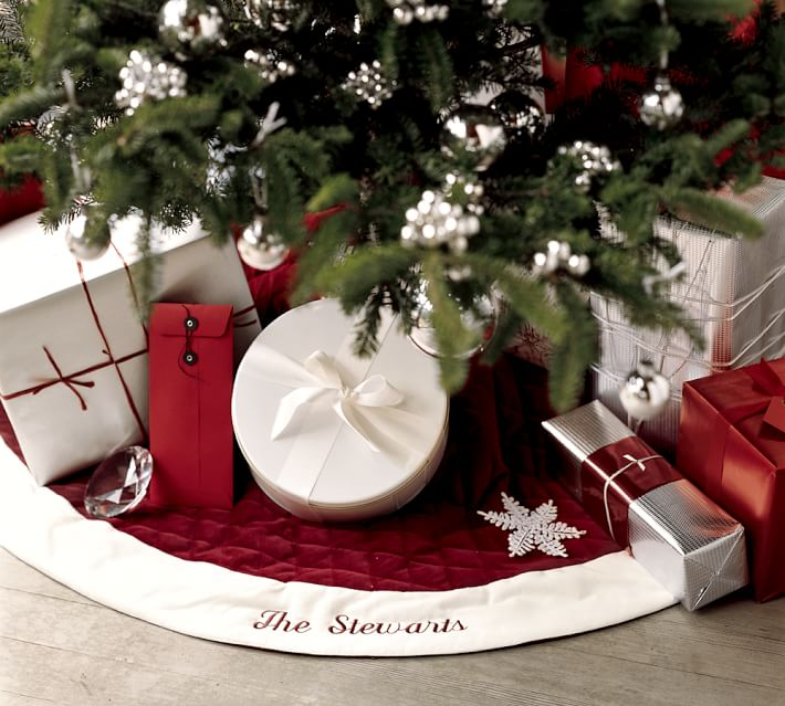 Velvet Tree Skirt - Red with Ivory Cuff | Pottery Barn
