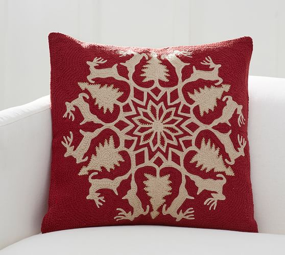 Embroidered Throw Pillows Pottery Barn : Reindeer Wreath Embroidered Pillow Cover Pottery Barn