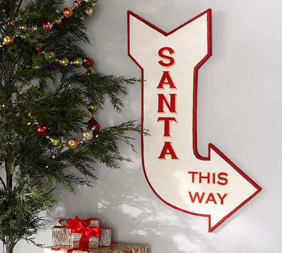 Santa This Way Sign Wall Art Pottery Barn