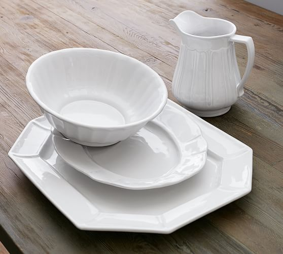 Colette Scalloped Oval Platter, Stone