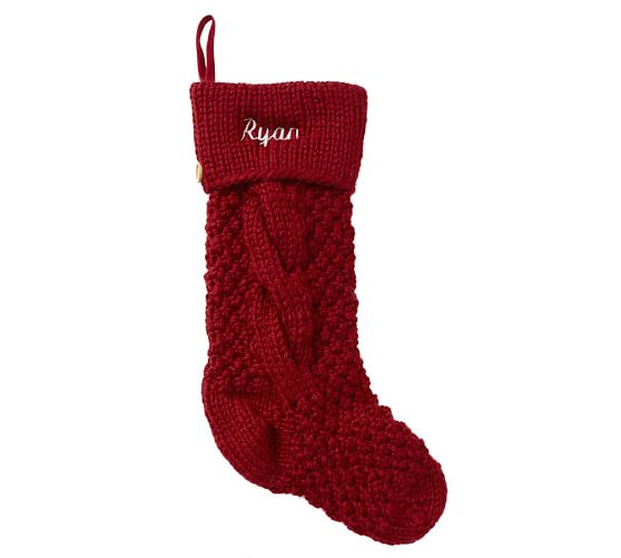 Chunky Cable Knit Stocking, Red