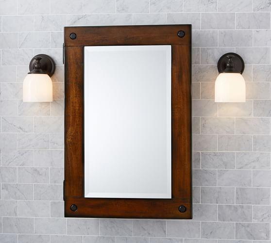 Mahogany Bathroom Mirror: Benchwright Wall-Mount Medicine Cabinet