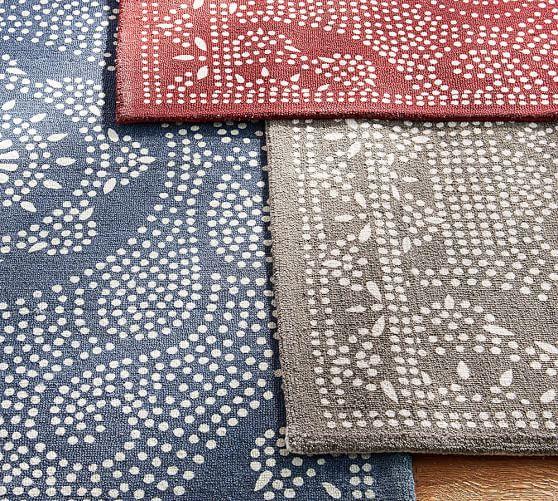 Shibori Dot Printed Indoor Outdoor Rug Gray