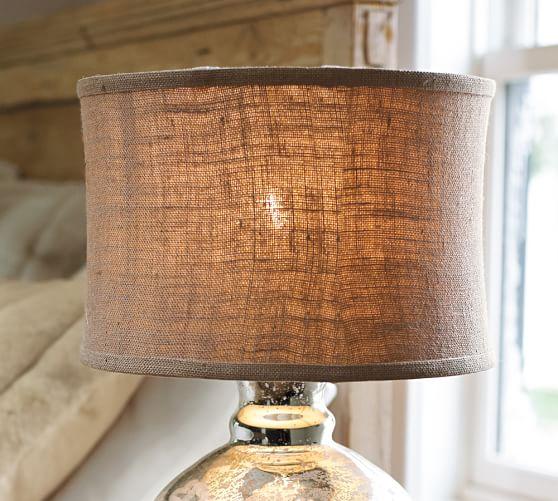 Burlap flared drum lamp shade pottery barn for Burlap lights