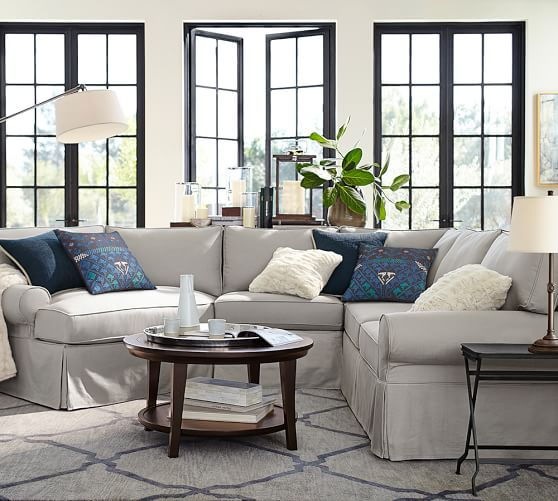 Pb Basic Slipcovered Small 4 Piece Angled Chaise Sectional