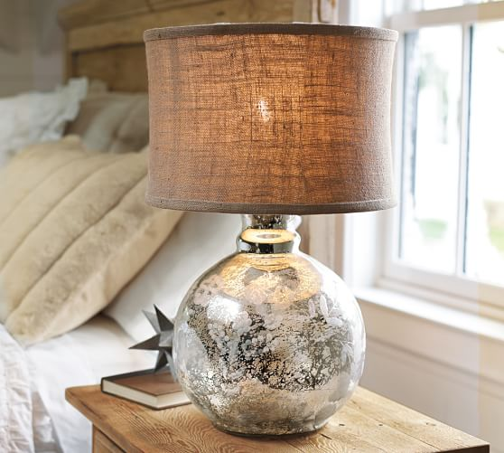 luna antique mercury glass lamp base pottery barn. Black Bedroom Furniture Sets. Home Design Ideas