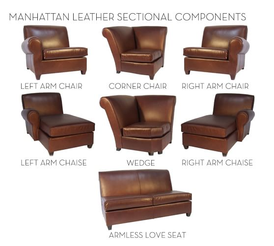 Build your own manhattan leather sectional components for Build your own leather sectional sofa