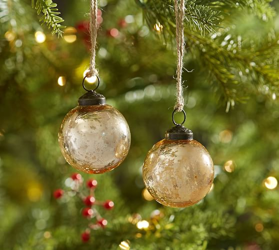 Gold Mercury Glass Ball Ornaments - Set Of 12