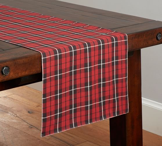 ... Landon Plaid Table Runner Pottery Barn ...