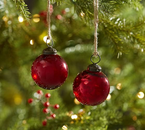 Red mercury glass ball ornaments set of pottery barn