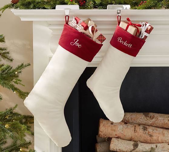velvet stocking ivory with red cuff pottery barn. Black Bedroom Furniture Sets. Home Design Ideas