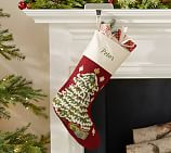 Classic Crewel Embroidered Stockings Santa Face