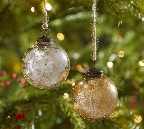 Silver gold mercury glass ball ornaments set of 6 for Christmas tree with red and silver ornaments