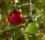 Red & Green Mercury Glass Ball Ornaments, Set of 6