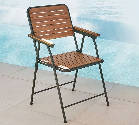 Tolland Metal Wood Folding Chair Pottery Barn