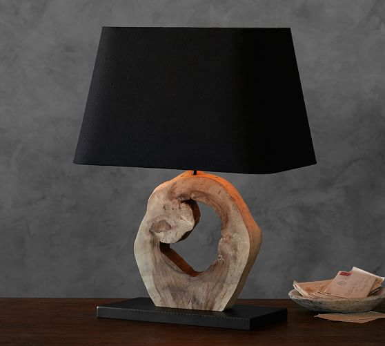 emmett wood slab lamp pottery barn. Black Bedroom Furniture Sets. Home Design Ideas