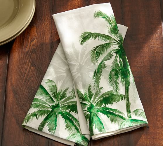 Palm Trees Tea Towel Set Of 2 Pottery Barn