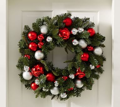 indoor outdoor ornament pine wreath red silver pottery barn