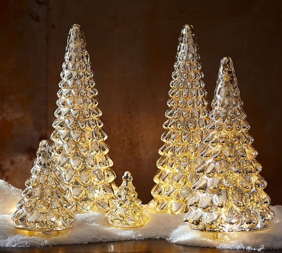 Lit Mercury Glass Tree Pottery Barn