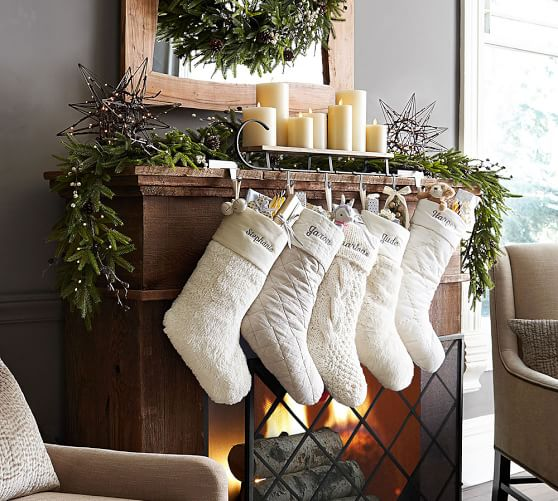 Faux Sheepskin Stocking With Bells