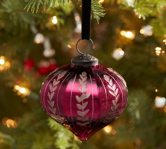 Etched mercury glass ornaments red onion pottery barn