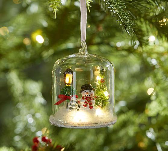 Lit Snowman In Glass Cloche Ornament Pottery Barn