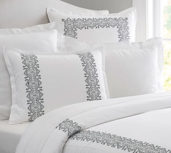 Cross Stitch Embroidered Duvet Cover Amp Sham Pottery Barn
