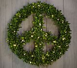Lit Boxwood Peace Wreath