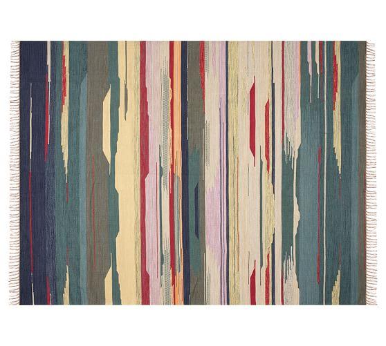 Rosalinda Watercolor Stripe Indoor Outdoor Rug Multi