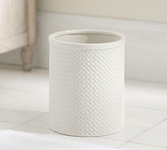 Porcelain basketweave wastebasket pottery barn for Marble bathroom bin