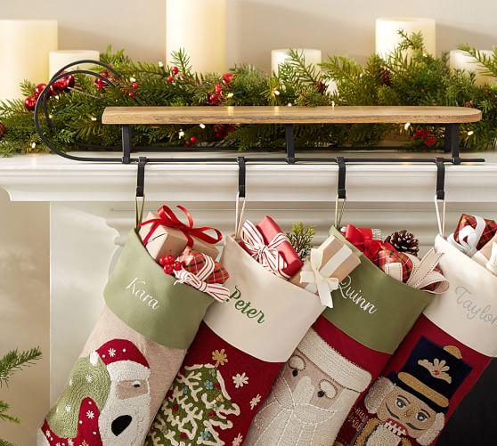 Mantle sleigh stocking holder pottery barn