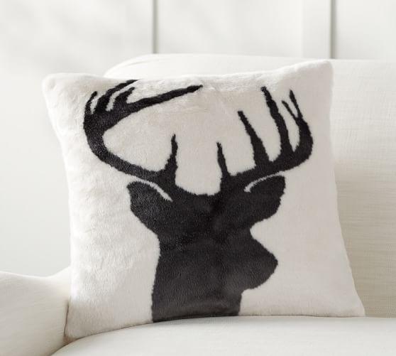 Stag Printed Faux Fur Pillow Cover Pottery Barn