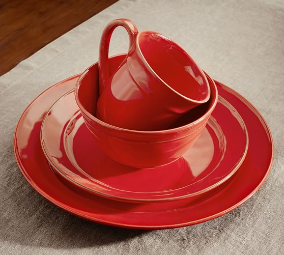 Red Tractor Plate Outlit : Cambria dinner plate set of red pottery barn