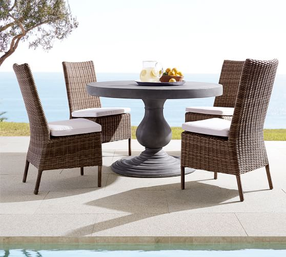 Geneva Concrete Round Dining Table Torrey Side Chair Set Espresso