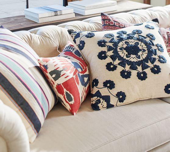 patchwork ikat lumbar pillow cover pottery barn. Black Bedroom Furniture Sets. Home Design Ideas