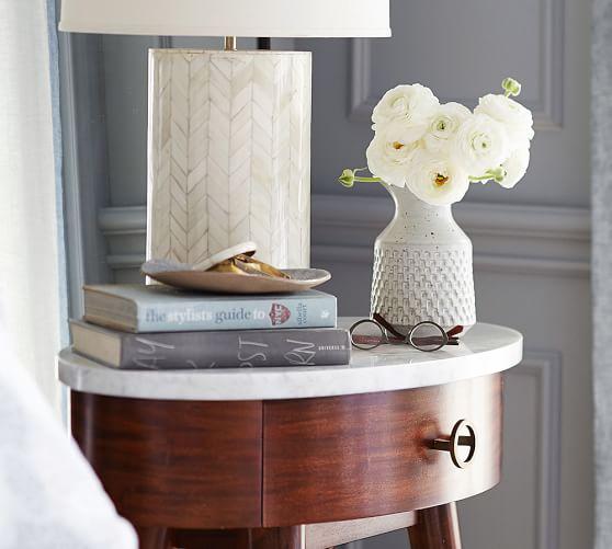 asher marble bedside table pottery barn. Black Bedroom Furniture Sets. Home Design Ideas
