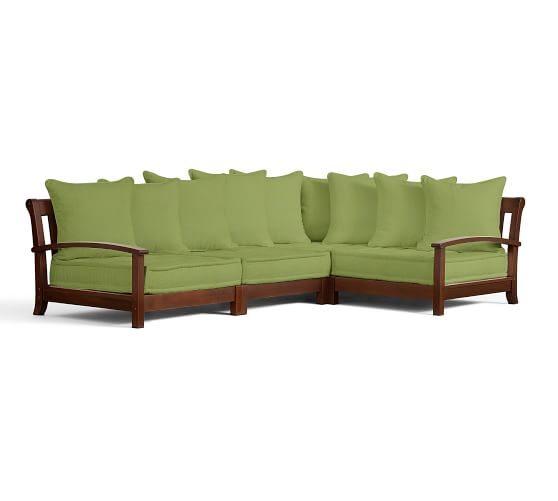 Universal 4-Piece Low Platform Sectional Cushion Set (1 cnr + 3 armless), Outdoor Canvas Solid Jade