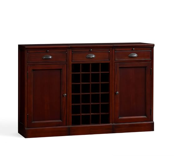 3-Piece Modular Bar Buffet (2 wood door cabinet & 1 wine grid base), Mahoganys stain