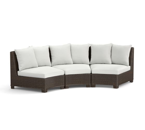 build your own torrey all weather wicker rounded sectional components espresso pottery barn. Black Bedroom Furniture Sets. Home Design Ideas