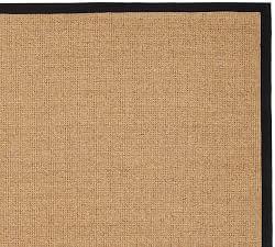 Color Bound Natural Sisal Rug Black