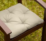 Tufted Outdoor Dining Chair Cushion, Outdoor Canvas, Stone