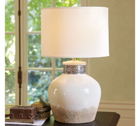 Sienna Ceramic Table Lamp Base, Ivory