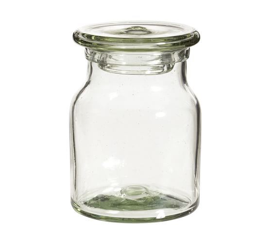 Recycled Glass Bath Canister, Medium, Clear