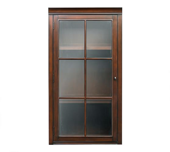 "Logan Hutch with Glass Doors, 24"" Mahogany stain"